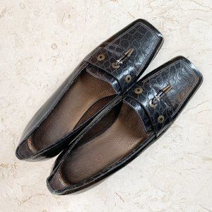 Sesto Meucci Devony Flats 7.5 Black Alligator $170